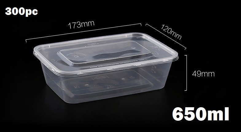 300pc (loose) 650ml food storage containers with lids