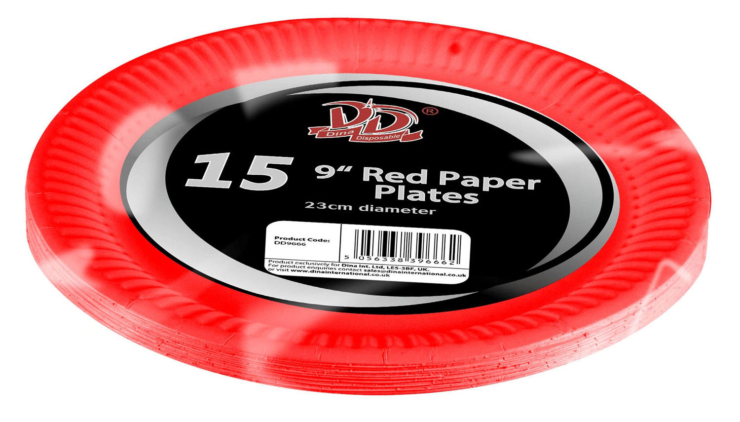 "15pc 9"" red paper plates"