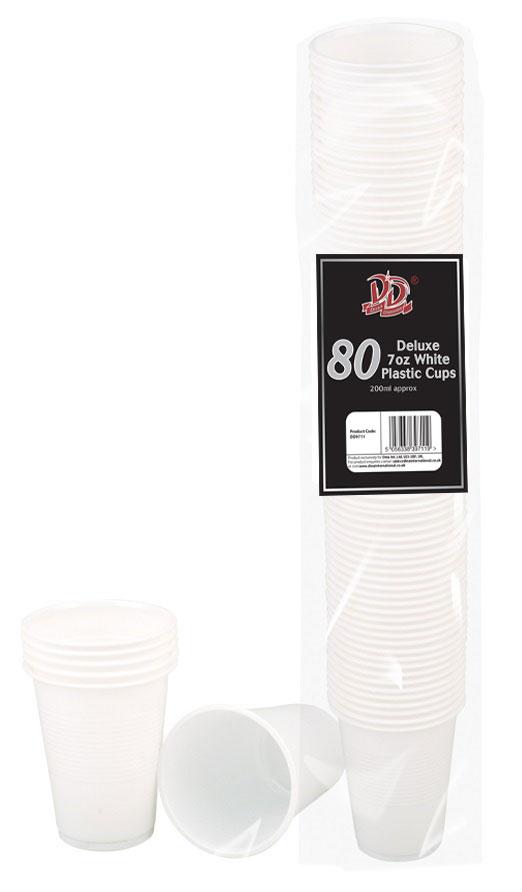 80pc deluxe 7oz white plastic cups